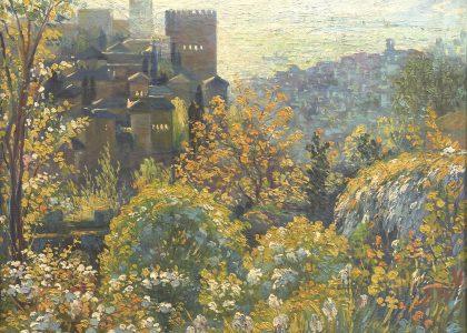 Joaquín Urbano Mingorance (Granada, 1887 - †) Puesta de Sol (Primer premio de 1944, sección óleos) Óleo sobre lienzo, 78x65 cm.