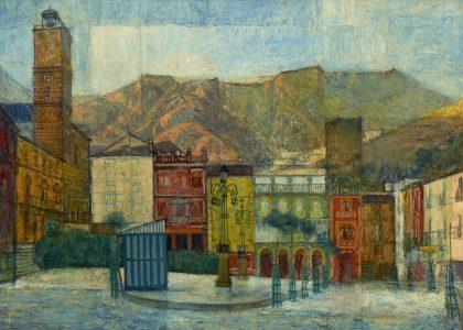 Domingo Molina Sánchez (Úbeda, 1922 - 2011) Amanecer en la plaza (Tercer premio de 1961, sección óleos) Óleo sobre tabla, 82x100 cm.