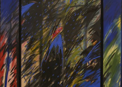 "Fernando Bermejo Barrionuevo (Madrid, 1949) Aves (Primer premio ""Ciudad de Linares"" de 1983) Témpera sobre tela, 180x150 cm."