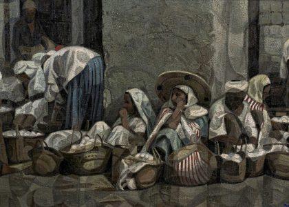 """Juan Manuel García Maldonado, """"Brazam"""" (Alhama de Granada, Granada, 1946) Zoco (Primer premio de 1966, sección óleos) Óleo sobre lienzo, 112x220 cm."""
