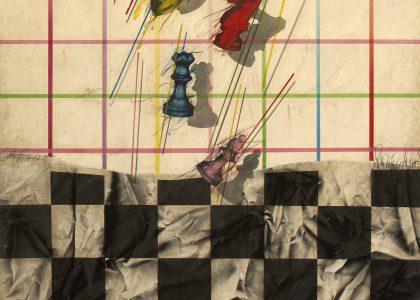 Santiago Tirado Franco (Linares, 1950) Torneo de Ajedrez (Adquirido por el Excmo. Ayuntamiento de Linares en 1983) Aerógrafo, 203x161 cm.