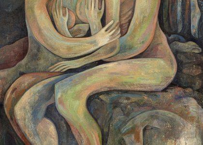 """José Gaspar Cortés Zarrias (Jaén, 1964) Los amantes (Premio Jóvenes Pintores Andaluces """"Mariano de la Paz"""" de 1988) Óleo sobre lienzo, 195x150 cm."""