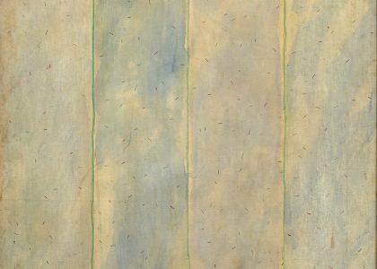 """Santiago Bueno Bravo (Madrid, 1954) Hierba-tierra Nº1 (Primer premio """"Ciudad de Linares"""" de 1981, sección óleos) Óleo sobre tabla, 200x120 cm."""