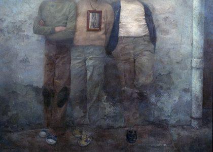 """Marcelo Góngora Ramos (Úbeda, 1940-2014) Composición 1976 (Segundo premio """"Fernando Arcas"""" de 1977, sección óleos) Óleo sobre lienzo, 125x170 cm."""