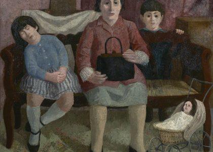 """José Hernández Quero (Granada, 1930) Visita al estudio (Segundo premio """"Mariano de la Paz"""" de 1971, sección óleos) Óleo sobre lienzo, 110x130 cm."""