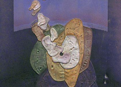 """Juan Manuel García Maldonado, """"Brazam"""" (Alhama de Granada, Granada, 1946) Sin Lema II (Primer premio """"Ciudad de Linares"""" de 1979, sección óleos) Técnica mixta (óleo-collage sobre lienzo), 129×104 cm."""