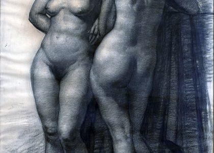 Francisco Baños Martos (Linares, Jaén, 1928 - Valencia, 2006) Desnudo (Primer premio de 1951, sección dibujo) Carboncillo sobre papel, 138x95 cm.