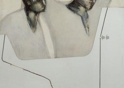 """Santiago Tirado Franco (Linares, 1950). Recuerdos del 3 de mayo de 1808 (Primer premio """"Ciudad de Linares de 1975, sección óleos). Técnica mixta (óleo-collage sobre tabla), 135x119 cm."""