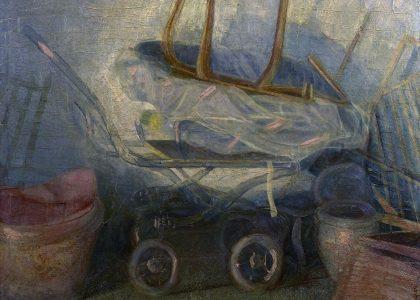 """Manuel Kayser Zapata (Jaén, 1946) Persistencia del tiempo (Tercer premio """"Mariano de la Paz"""" de 1979, sección óleos) Óleo sobre lienzo, 114x145 cm."""