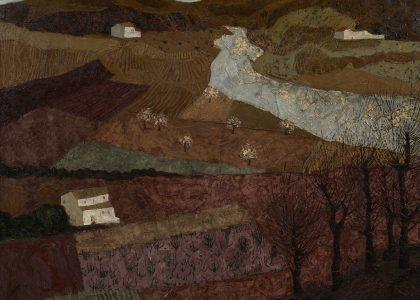 """José Hernández Quero (Granada, 1930) Tierras del Sur de España (Segundo premio """"Mariano de la Paz"""" de 1970, sección óleos) Óleo sobre lienzo, 109x129 cm."""