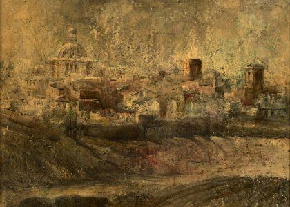 "Marcelo Góngora Ramos (Úbeda, 1940-2014) Vista de Úbeda (Primer premio ""Cástulo"" de 1970, acuarela) Técnica mixta sobre lienzo, 58x70 cm."