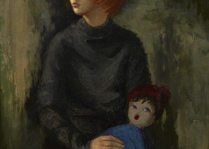 María Manuela Pozo Lora (El Carpio, Córdoba, 1932 - Jerez de la Frontera, Cádiz, 2006) Niña con muñeca (Accésit de 1965). Óleo sobre lienzo, 115 x90 cm.