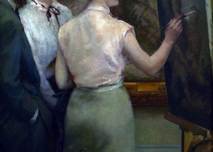 Guillermo Vargas Ruiz (Bollullos de la Mitación, Sevilla, 1910 - Madrid, 1990) La copista (Primer premio de 1951, sección óleos) Óleo sobre lienzo, 98x83 cm.