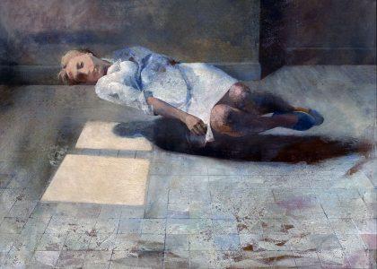 """Matías Quetglas Benedet (Ciutadella, Menorca, 1946) María ingrávida (Tercer premio """"Fernando Arcas"""" de 1970, sección óleos) Óleo sobre tabla, 80x100 cm."""