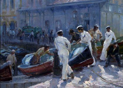 """José Ortuño Úbeda (Granada, 1943 - 1999) Marinos (Tercer premio """"Mariano de la Paz"""" de 1977, sección óleos) Óleos sobre lienzo, 65x80 cm."""