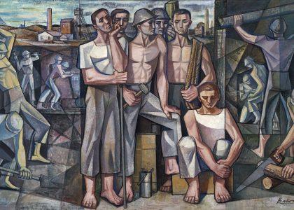 Francisco Baños Martos (Linares, 1928 - Valencia, 2006) Los mineros (Primer premio de 1957, sección óleos) Óleo sobre lienzo, 165x290 cm.