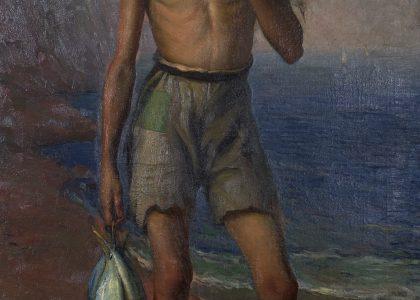 Francisco Baños Martos (Linares, 1928 - Valencia, 2006) Niño pescador (Primer premio de 1949, sección óleos) Óleo sobre lienzo, 130x80 cm.