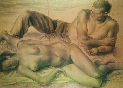 """""""Figuras en reposo"""" (1945) Dibujo, 106x150 cm. COLECCIÓN PARTICULAR"""