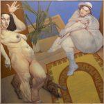 NAYADES DE LAS AGUAS ROTAS CON LEYENDA PROPIA, óleo sobre lienzo, 195x195 cms