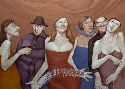 DIOSECITOS DE LA BUENA SUERTE. óleo sobre lienzo, 195X195 cms
