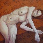 BARTOLA TUMBADA, óleo sobre lienzo, 97X114 cms