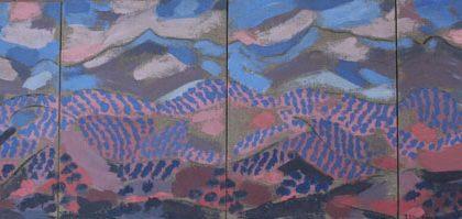 Teresa Almagro, Sierra Mágina. Políptico 4 piezas. Acrílico sobre madera entelada. 92x31cm.
