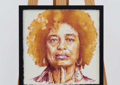 """Angela Davis - Gold is for Queens"" Óleo sobre tela encolada a tabla 34 x 34 cm"