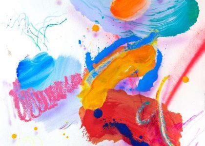 """Esmalte acrílico, óleo en barra y spray sobre papel """"Cansancio"""" 30 x 36 cm"""