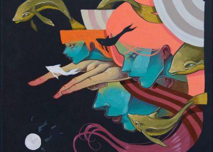 "Acrílico sobre lienzo ""Escapada Mental"" 40 x 40 cm"